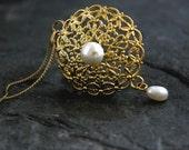 Gift For Women, Edwardian Necklace, Filigree Gold Necklace, Edwardian Jewelry, Edwardian Wedding, Pearl Filigree Delicate Gold Necklace