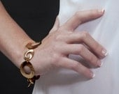 Women's Gift, Gold Infinity Bracelet with Handmade Gold Circles