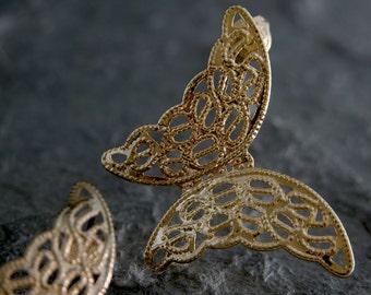 Gift For Women, Gold Earrings ,Gold studs ,Gold Studs Earrings ,Gold Butterfly Earrings, Gold Filigree Butterfly Stud Earrings