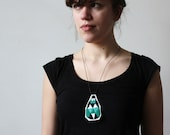 Embroidered Green Minty Arctic Polar Bear Diamond necklace
