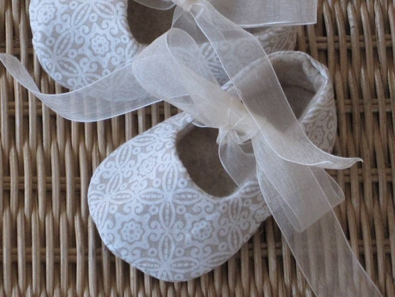 baby girl ballet slippers in creme and beige with ribbon ties - LAST ONE