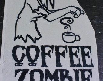 Coffee Zombie Vinyl Decal