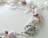 Keishi Pearl Bracelet Garnet Sterling Silver Complimentary Shipping