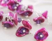 Keishi Pearl Earrings, Keshi Freshwater Waterfall, Genuine Amethyst Gemstone, Purple, Wire Wrapped, Gold or Sterling Silver, Free Shipping