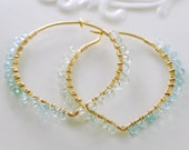 Genuine Aquamarine Hoops Gold Aqua Blue Pale Green Gemstone Jewelry March Birthstone Lotus Hoop Earwires Complimentary Shipping