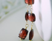 Garnet Earrings Long Dangle AAA Semiprecious Red Gemstone Rectangle January Birthstone Wire Wrapped Gold Jewelry Complimentary Shipping