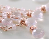 Soft Rose Quartz Earrings Gemstone Tassels Dangling Pale Rose Gold Wire Wrapped Jewelry Complimentary Shipping