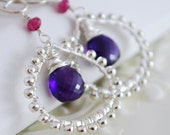 Grape Purple Amethyst Earrings Sterling Silver Jewelry Wire Wrapped Pink Tourmaline Gemstone Indian Inspired Complimentary Shipping