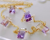 Ametrine Necklace Gemstone Semiprecious Baguette Cut Lavender Lilac Modern Gold Filled Jewelry Complimentary Shipping