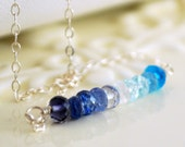 Blue Gemstone Necklace Ombre Semiprecious Stone Wire Wrapped Row Shaded Strand Sterling Silver Jewelry Complimentary Shipping