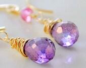 Gemstone Earrings Pink Purple Quartz Semiprecious Stone Genuine Ruby Gold Jewelry Wire Wrapped Teardrop Complimentary Shipping