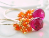 Orange Carnelian Earrings, Hot Pink Bright Fuchsia Quartz Gemstone, Wire Wrapped Cluster, Sterling Silver or Gold Jewelry, Free Shipping