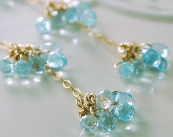 Long Blue Topaz Earrings Genuine Semiprecious Gemstone Delicate Wire Wrapped Dangle Gold Jewelry Complimentary Shipping