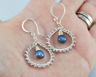 Labradorite Earrings Sterling Silver Jewelry Semiprecious Gemstone Fat Wire Wrapped Teardrops Indian Inspired Complimentary Shipping