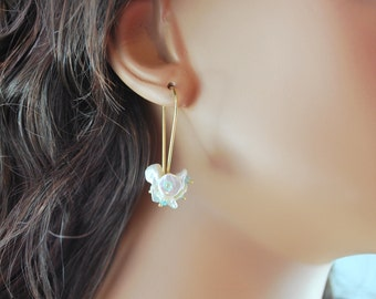 White Keshi Keishi Pearl Earrings Blossom Aqua Apatite Gemstone Wire Wrapped Gold Jewelry Complimentary Shipping
