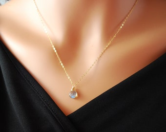 Delicate Labradorite Necklace, Gold Jewelry, Simple Gemstone Pendant, Free Shipping