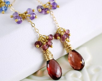 Garnet Earrings, Tanzanite Amethyst Rhodolite Gemstone, Wire Wrapped, Elegant Feminine, Berry, Gold Jewelry, Free Shipping