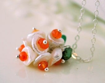 White Keishi Pearl Necklace Bright Orange Carnelian Gemstone Flower Blossom Sterling Silver Jewelry Complimentary Shipping