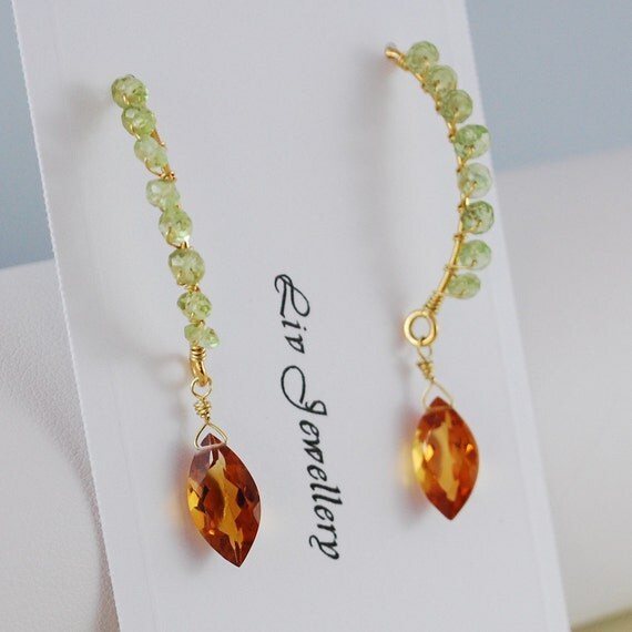 Reserved - Peridot Earrings Lime Green Semiprecious Gemstone Marquise Burnt Orange AAA Citrine Wire Wrapped Jewelry Complimentary Shipping