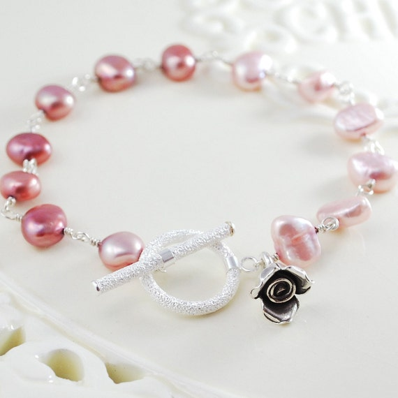 Freshwater Pearl Bracelet Rose Pink Blush Asymmetrical Sterling Silver Wire Wrapped Feminine Jewelry Complimentary Shipping