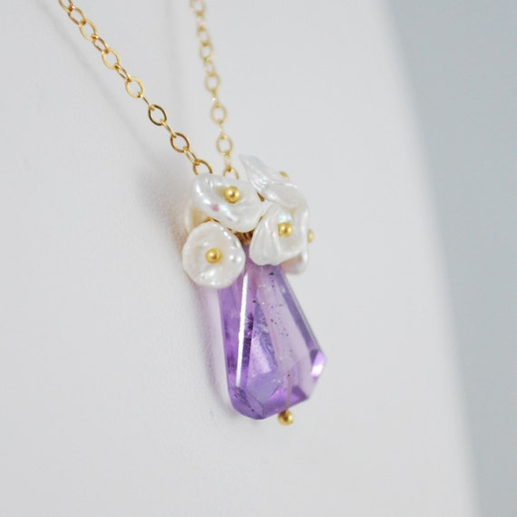 Amethyst Necklace, Gold, Freshwater Keishi Pearls, February Birthstone, Radiant Orchid, Wire Wrapped Jewelry, Free Shipping