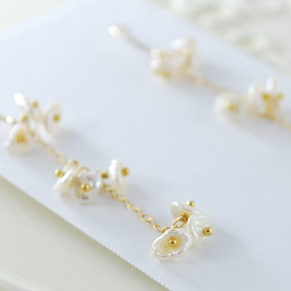 Keishi Pearl Cluster Earrings, Cream Ivory Pearls, Gold Filled or Sterling Silver Earings, Bridal Jewelry, Free Shipping