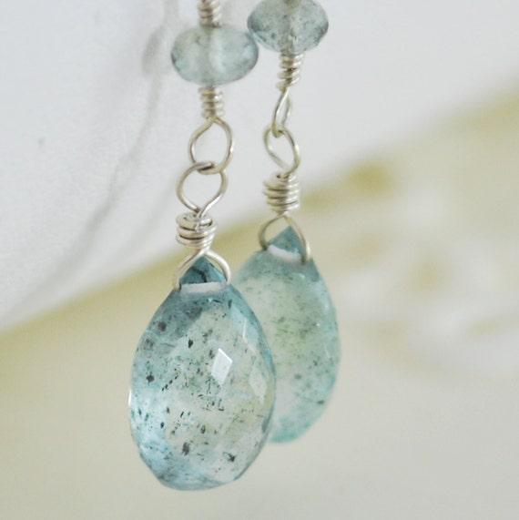 Moss Aquamarine Earrings Sterling Silver Jewelry