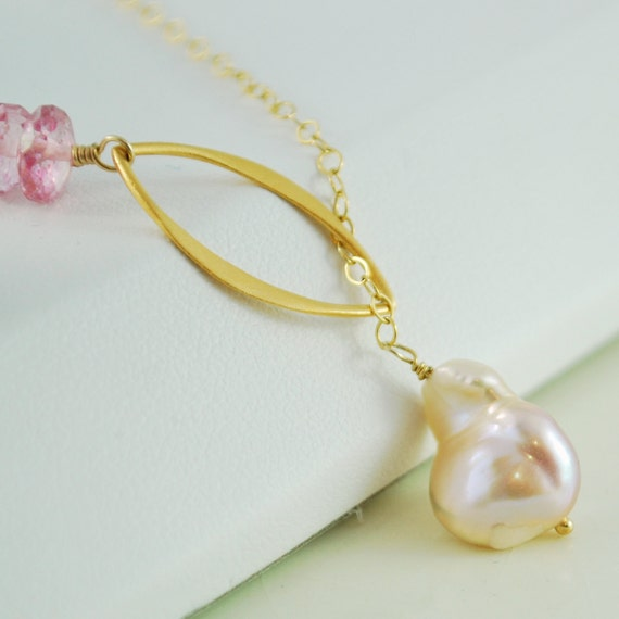 Keishi Pearl Necklace Lariat with Pink Topaz in Gold