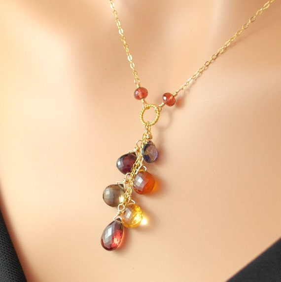 Autumn Leaves Gemstone Necklace Semiprecious Jewelry Gold Filled Smoky quartz Hessonite Wire Wrapped Complimentary Shipping
