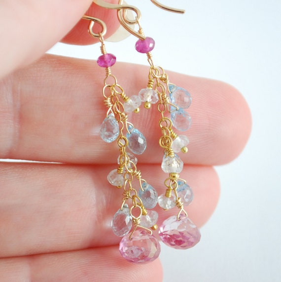 SALE Pink Topaz Earrings Semiprecious Gemstone Aquamarine March Birthstone Long Blue Feminine Gold Filled Jewelry Free Shipping
