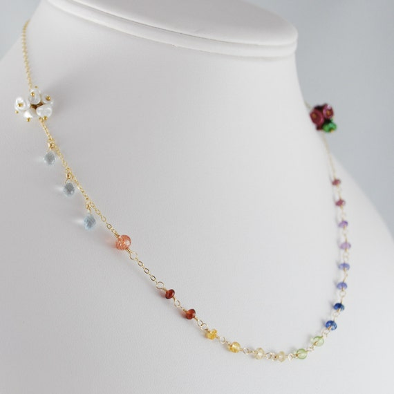 Rainbow Gemstone Necklace Strand Freshwater Pearl Cloud Aquamarine Raindrops Gold Jewelry Complimentary Shipping