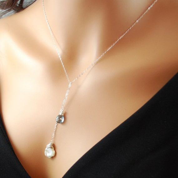 London Blue Lariat Necklace with Keishi Pearl Sterling Silver Jewelry