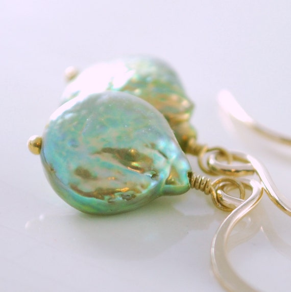 Green Coin Pearl Earrings Genuine Freshwater Simple Wire Wrapped Gold Jewelry Complimentary Shipping