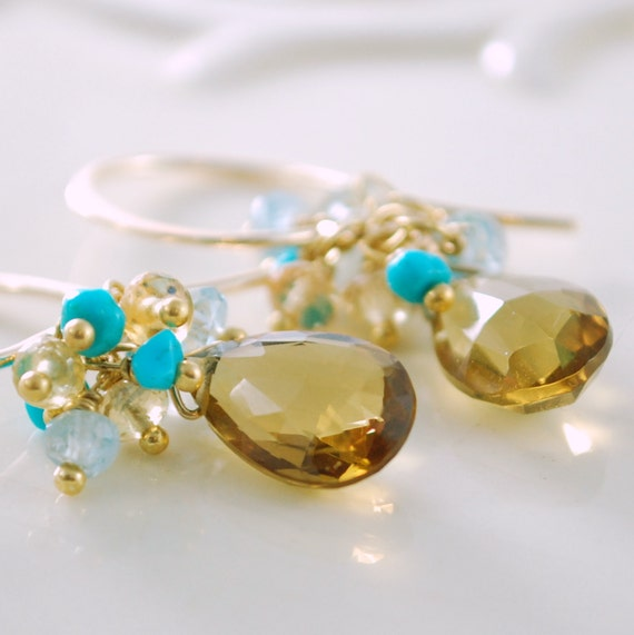 Gemstone Earrings Beer Quartz Aquamarine Genuine Sapphire Turquoise Clusters Wire Wrapped Gold Jewelry Complimentary Shipping