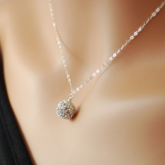 Pave Crystal Necklace Encrusted Sparkly Ball Bead Sterling