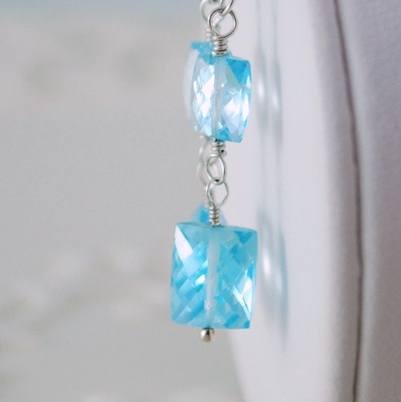 Long Blue Topaz Earrings Dangle AAA Gemstone Rectangles Wire Wrapped December Birthstone Sterling Silver Jewelry Complimentary Shipping