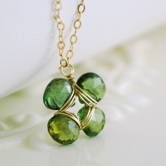 Reserved - Clover Necklace Green Tourmaline Genuine Gemstone Gold St. Patrick's Day Jewelry Emerald Green Free Shipping