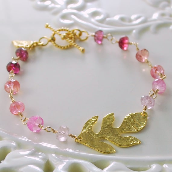 Pink Tourmaline Bracelet Genuine Semiprecious Gemstone Gold Vermeil Leaf Wire Wrapped October Birthstone Complimentary Shipping
