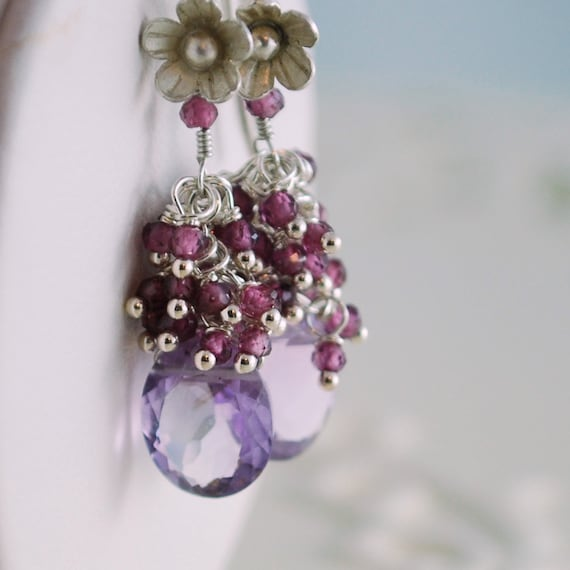 Pink Amethyst Earrings Cascading Rhodolite Garnet Cluster Genuine Gemstone Raspberry Lilac Sterling Silver Jewelry Complimentary Shipping