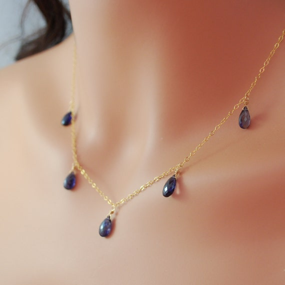 Genuine Iolite Necklace Semiprecious Strand AAA Gemstone Navy Blue Wire Wrapped Gold Jewelry Complimentary Shipping