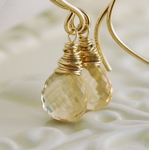 Champagne Citrine Genuine AAA Gemstone Drop Earrings Wire Wrapped Gold Jewelry Semiprecious Heart Complimentary Shipping