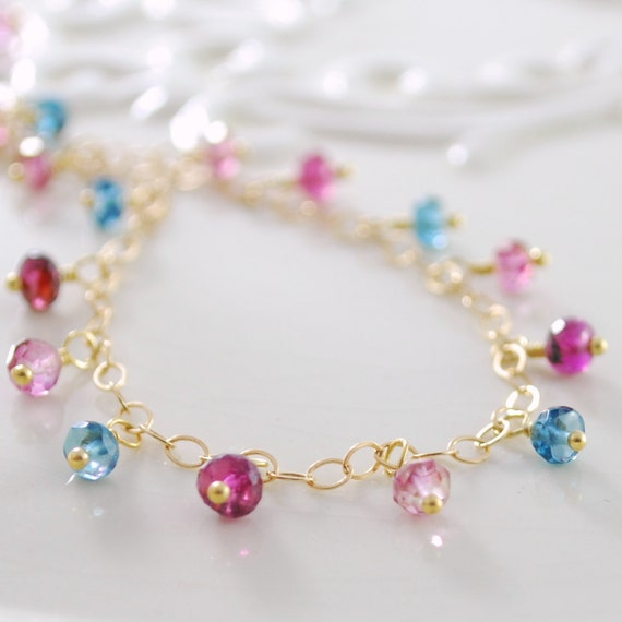 London Blue Topaz Anklet Mystic Pink Tourmaline Gemstone Wire Wrapped Ankle Bracelet Delicate Gold Jewelry Complimentary Shipping