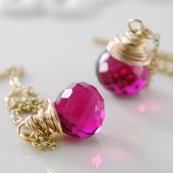 Hot Pink Earrings, Quartz Gemstone Threaders, AAA Onion, Bright Fuchsia, Delicate Luxe, Wire Wrapped, Gold Jewelry, Free Shipping