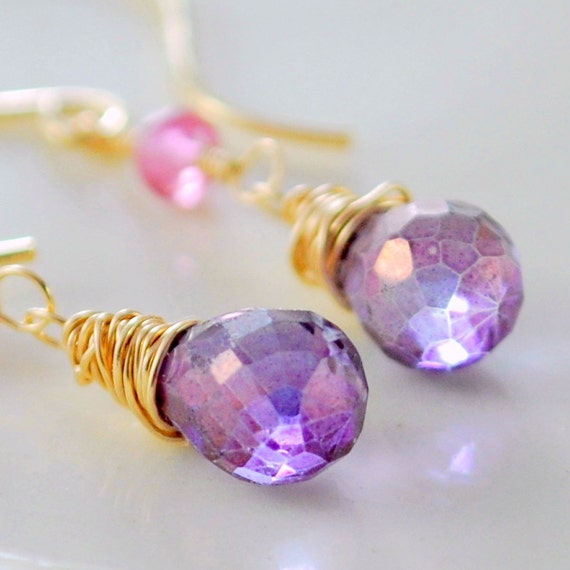 Gemstone Earrings Pink Purple Quartz Semiprecious Stone Genuine Ruby Gold Jewelry Wire Wrapped Teardrop Complimentary Shipping