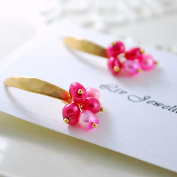 Bright Honeysuckle Pink Freshwater Pearl Earrings Feminine Wire Wrapped Gold Jewelry Complimentary Shipping