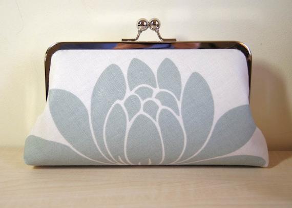 EllenVintage Clutch Powder Blue Lotus on White RESERVED FOR MARYANN