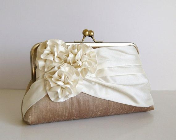 EllenVintage Three Roses Silk Clutch in Tan and Ivory , Wedding clutch, Wedding purse, Bridesmaid clutch, Wedding bag, Bridal clutch