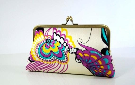 Ellen Vintage Silk  Purse Abstract Butterflies,  Last one, Wedding Clutch, Special occasion bag