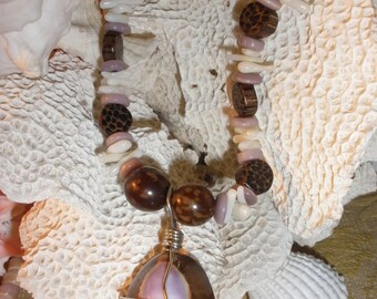 Purple Cowry Shell Necklace