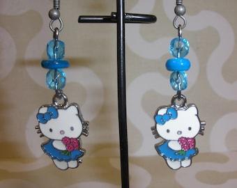 Blue Kitty Cat Earrings